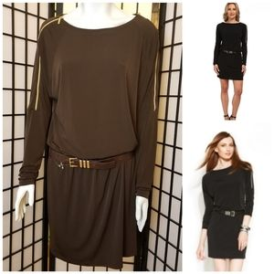 Michael Kors silky chocolate belted dress